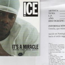 CDs de Musique: ICE MC / IT'S A MIRACLE (CD SINGLE CARTON PROMO 2004) CON HOJA DISCOGRAFICA. Lote 94669503