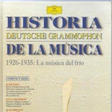 CDs de Música: VE15- DISCO-LIBRO DE 48 PAGS. Y 1 CDS. - HISTORIA DE LA MÚSICA 1926 - 1935 DEUTSCHE GRAMMOPHON. Lote 96544967