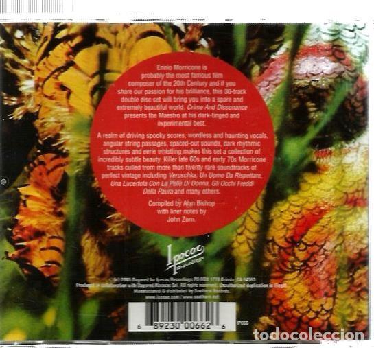 CDs de Música: DOBLE CD ENNIO MORRICONE : CRIME AND DISSONANCE (TEMAS CENTRALES BANDAS SONORAS THRILLERS Y TERROR ) - Foto 2 - 97963939