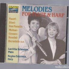 CDs de Música: LAETITIA SCHOUTEN & REGINA EDEVEEN - MELODIES FOR FLUTE & HARP (CD 1991, SAGA CLASSICS SCD 9023). Lote 98402003