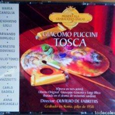 CDs de Música: GIACOMO PUCCINI. TOSCA. 2 CDS. ÓPERA EN 3 ACTOS. ROMA. FABRITTIS, CANIGLIA, GIGLI, BORGIOLI, DOMINI. Lote 102365815