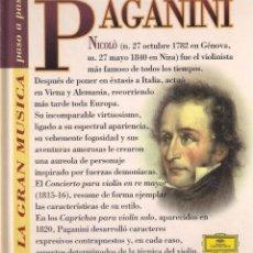 CDs de Música: PAGANINI - LA GRAN MÚSICA PASO A PASO - CD DEUTSCHE GRAMMOPHON/CLUB INTERNACIONAL DEL LIBRO 1995. Lote 181968265