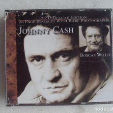 CDs de Música: JOHNNY CASH & BOXCAR WILLIE, 2 CD DELUXE EDITION. 2001 DEVAJU RETRO GOLD COLLECTION. Lote 106909383