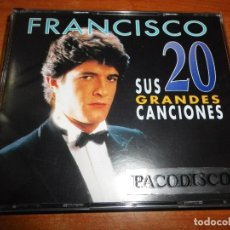 CDs de Música: FRANCISCO SUS GRANDES 20 CANCIONES DOBLE CD ALBUM DEL AÑO 1996 LATINO HIMNO A VALENCIA 2 CD RARO. Lote 107371903