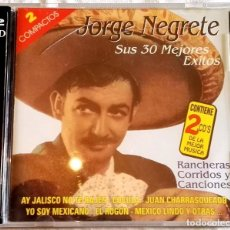 CDs de Música: 2X CD - JORGE NEGRETE, SUS 30 MEJORES ÉXITOS. Lote 107745755