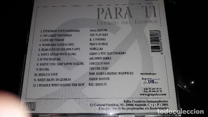 CDs de Música: PARA TI - CANCIONES PARA ENAMORAR - 2001 - Foto 2 - 110063663