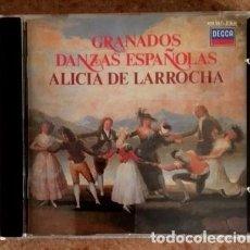 CDs de Música: DANZAS ESPAÑOLAS - GRANADOS - ALICIA DE LARROCHA - DECCA, 1982. Lote 111184675