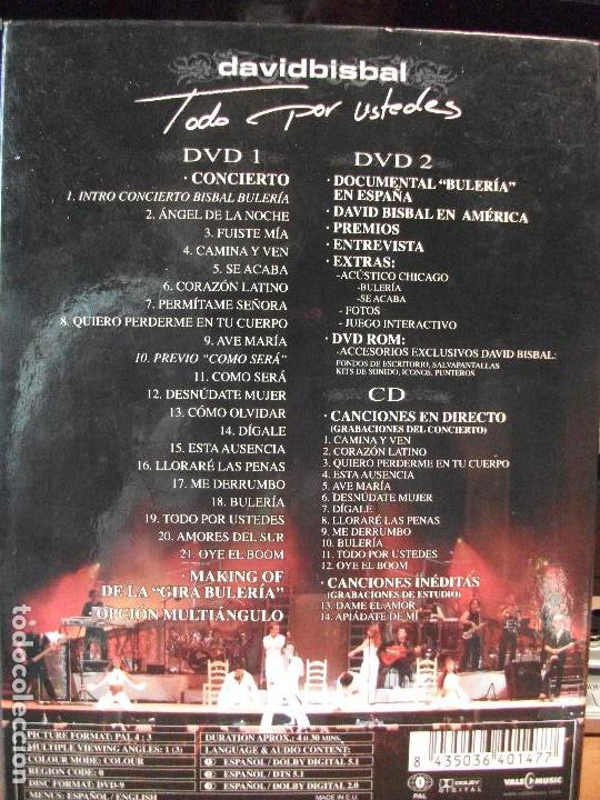 CDs de Música: DAVID BISBAL Todo por ustedes 2 DVD + 1 CD CONCIERTO DOCUMENTAL ACUSTICO MAKING OF 2005 pepeto - Foto 4 - 114287891