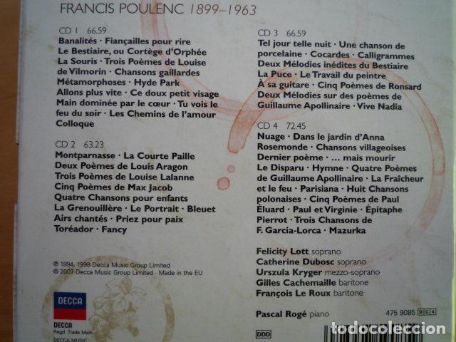4 Cds Poulenc Mélodies Lott Dubosc Rogé Decca Uk 2007
