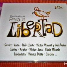 CDs de Música: CANTAUTORES PARA LA LIBERTAD - 3 CD'S ORIGINALES - 60 CANCIONES SERRAT AUTE SABINA VICTOR JARA.... Lote 116363595