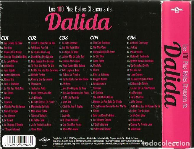 CDs de Música: 5 CD BOX : DALIDA : LES 100 PLUS BELLES CHANSONS DE DALIDA - Foto 2 - 117771283