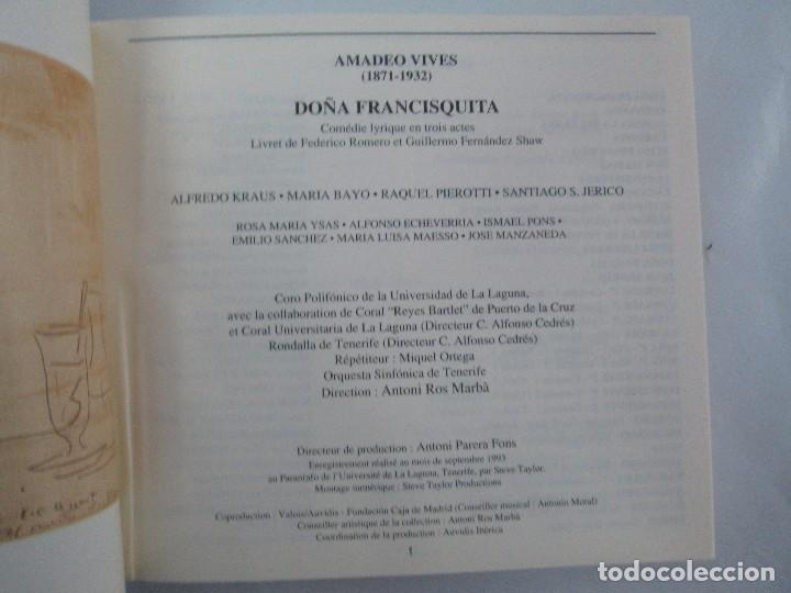 CDs de Música: AMADEO VIVES. DOÑA FRANCISQUITA. ZARZUELA. A. KRAUS. M. BAYO. R. PIEROTTI. S. JERICO. 2 CD Y LIBRO - Foto 3 - 118968391