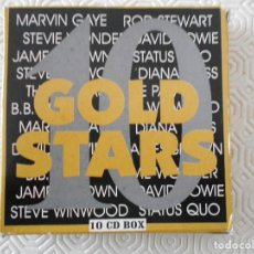 CDs de Música: GOLD STARS. 10 CD BOX. MARVIN GAYE. ROD STEWART. DAVID BOWIE. STEVIE WONDER. JAMES BROWN. STEVE WINW. Lote 120177863