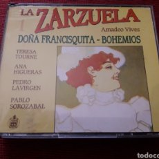 CDs de Música: LA ZARZUELA 2 CD AMADEO VIVES DOÑA FRANCISQUITA BOHEMIOS HISPAVOX 1991 + 5 € ENVIO C.N.. Lote 120525055