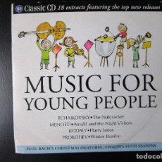 CDs de Música: MUSIC FOR YOUNG PEOPLE - VAUGHAN-WILLIAMS, BIBER, KERN, GLINKA, KODALY, MENOTTI, ROMAN, BACH, CD . Lote 122004459