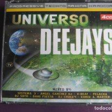CDs de Música: UNIVERSO DEEJAYS 4 CDS VALE 2001 - TECHNO - MAKINA - PROGRESSIVE HOUSE - HAPPY HARDCORE. Lote 122285347