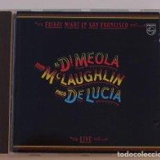 CDs de Música - AL DI MEOLA, MCLAUGHLIN, PACO DE LUCIA - FRIDAY NIGHT IN SAN FRANCISCO (CD) 1981 - 5 TEMAS - 123547579