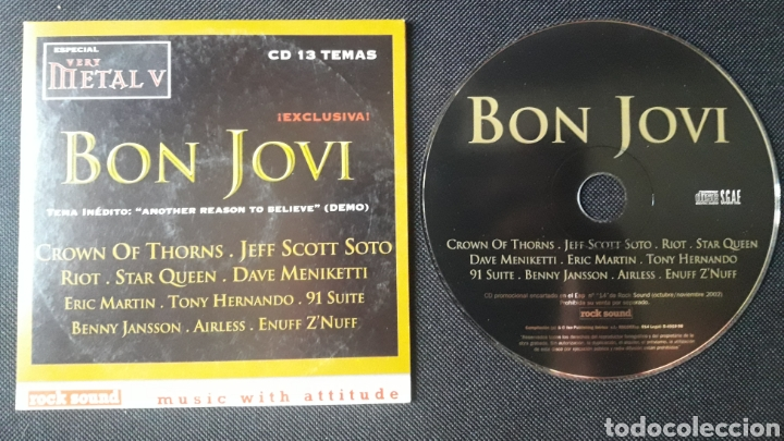 ROCKSOUND VERY METAL V CD: BON JOVI, CROWN OF THORNS, JEFF SCOTT SOTO, ETC (Música - CD's Heavy Metal)