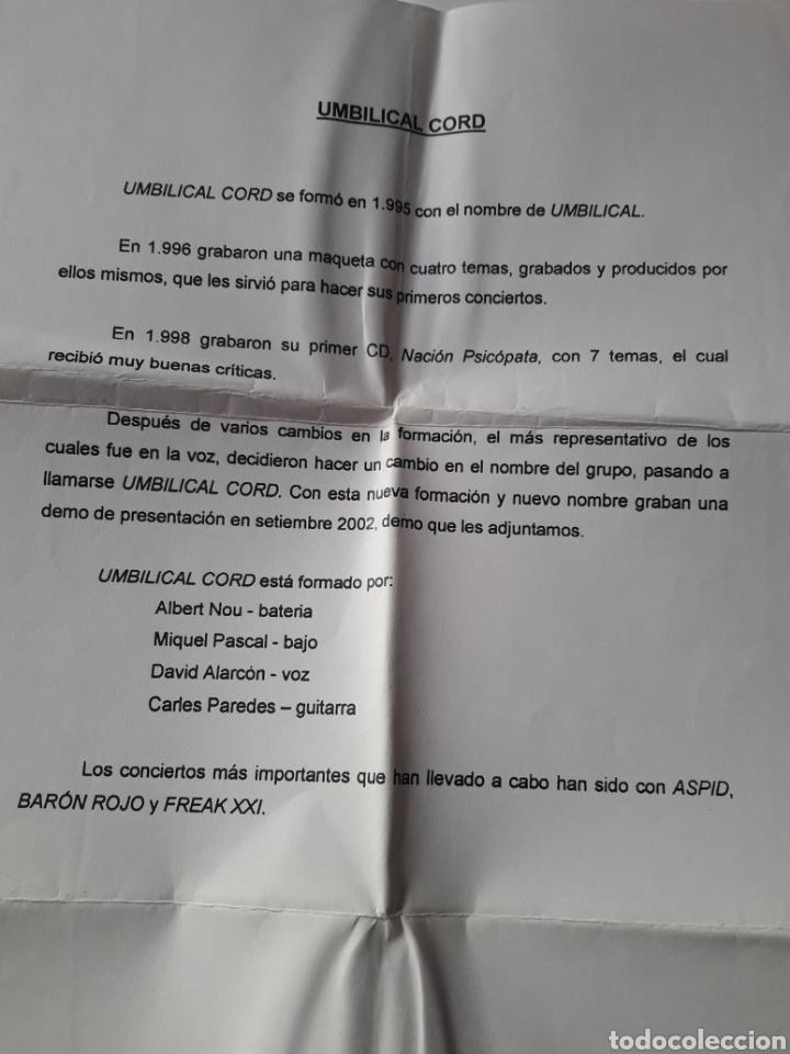 CDs de Música: Umbilical Cord - Demo CD 2002 + hoja promo - Foto 6 - 124147215