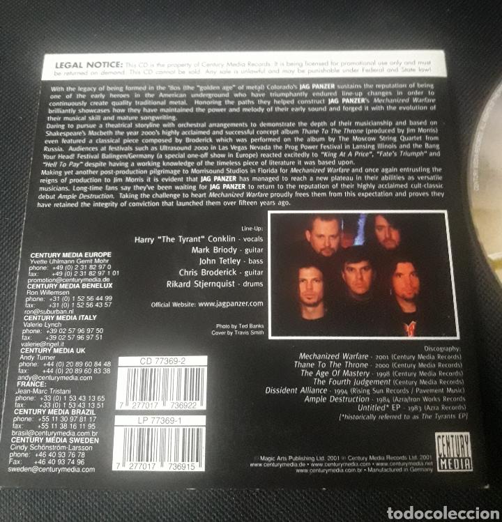 CDs de Música: Jag Panzer - Mechanized Warfare CD álbum promocional (heavy metal 2001 ) - Foto 2 - 124323148