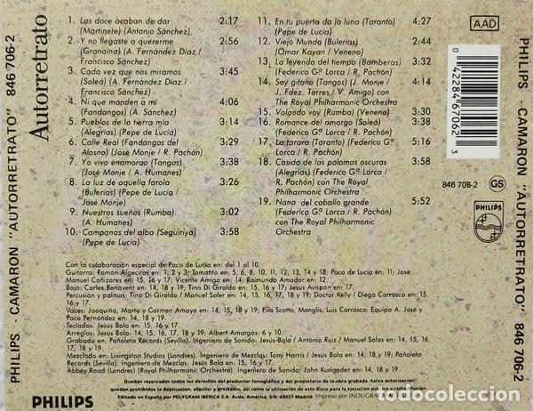 CDs de Música: Camarón – Autorretrato (ed.: España, 1990) - Foto 2 - 126827823