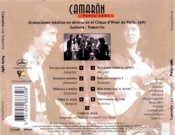 CDs de Música: Camarón Con Tomatito ?– París 1987 (ed.: UE, 1989) - Foto 2 - 126827895