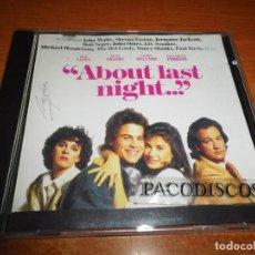 CDs de Música: ABOUT LAST NIGHT BANDA SONORA QUE PASO ANOCHE CD ALBUM AÑO 1986 SHEENA EASTON JERMAINE JACKSON. Lote 130126955