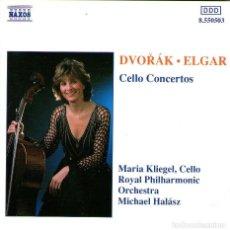 CDs de Música: DVORÁK / ELGAR - CELLO CONSERTO - CELLO: MARIA KLIEGEL - NAXOS LONDON - AÑO 1991. Lote 132818454