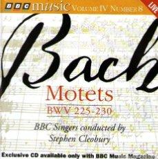 CDs de Música: JS BACH - MOTETS (BWV 225-230) - DIRIGE: STEPHEN CLEOBURY - BBC MUSIC MAGAZINE 1996. Lote 133404978