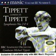 CDs de Música: TIPPETT CONDUCTS TIPPETT - SYMPHONIES NOS 2 & 4 - BBC MUSIC MAGAZINE 1995. Lote 133834830