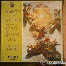 CDs de Música: EL MESIAS DE HANDEL - ALBUM CON 3 DISCOS DE VINILO LP COLIN DAVIS. Lote 134875586