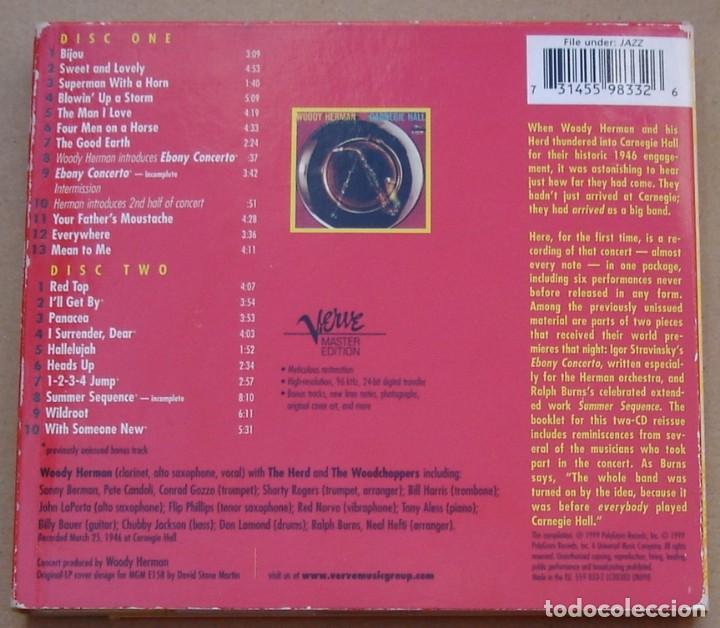 CDs de Música: WOODY HERMAN - AT CARNEGIE HALL, 1946 (2CD) 1999 - 23 TEMAS - DIGIPAK - Foto 5 - 135132074