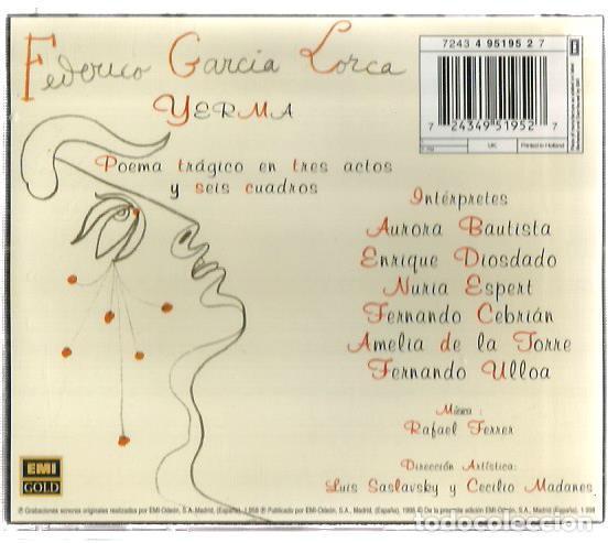 CDs de Música: CD FEDERICO GARCIA LORCA : YERMA ( POEMA TRAGICO EN TRES ACTOS ) CUBIERTA DE JEAN COCTEAU - Foto 2 - 137862878