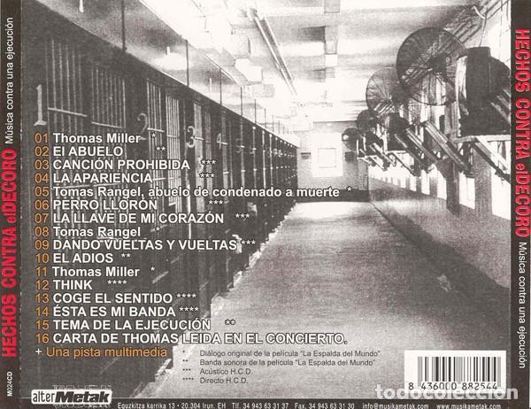 CDs de Música: HECHOS CONTRA EL DECORO - MÚSICA CONTRA UNA EJECUCIÓN. DISCO DE APOYO A THOMAS MILLER-EL - Foto 2 - 139227426