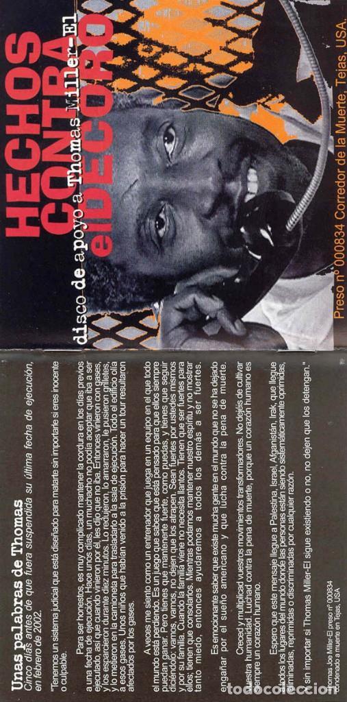 CDs de Música: HECHOS CONTRA EL DECORO - MÚSICA CONTRA UNA EJECUCIÓN. DISCO DE APOYO A THOMAS MILLER-EL - Foto 3 - 139227426