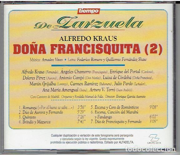 CDs de Música: CD`S TIEMPO DE ZARZUELA, DOÑA FRANCISQUITA - Foto 2 - 139505238