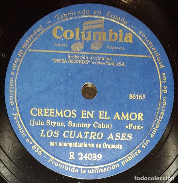 DISCOS 78 RPM - LOS CUATRO ASES - ORQUESTA - FOX - CREEMOS EN EL AMOR - CAMPANAS NUPCIALES - PIZARRA (Música - CD's Flamenco, Canción española y Cuplé)