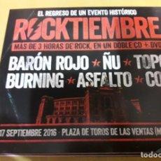 CDs de Música: ROCKTIEMBRE 2 CDS + DVD: ÑU, COZ, TOPO, ASFALTO, BARON ROJO, BURNING *IMPECABLE*. Lote 140043106
