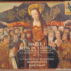 CDs de Música: ISABEL I REINA DE CASTILLA CD JORDI SAVALL LUCES Y SOMBRAS EN EL RENACIMIENTO 1451-1504. Lote 141333518