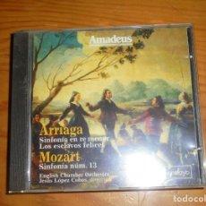 CDs de Música: JUAN CRISOSTOMO ARRIAGA : SINFONIA EN RE MENOR / MOZART : SINFONIA N0. 13. AMADEUS, . CD. IMPECABLE. Lote 143913306