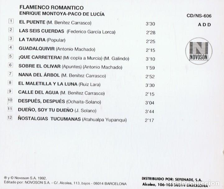 CDs de Música: ENRIQUE MONTOYA & PACO DE LUCIA FLAMENCO ROMANTICO - Foto 2 - 144572034