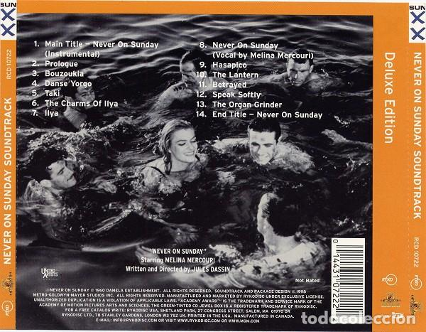 CDs de Música: NEVER ON SUNDAY / Manos Hadjidakis CD BSO - Foto 2 - 145295810