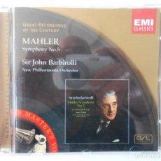 CDs de Música: MAHLER. SYMPHONY NO 5. SIR JOHN BARBIROLLI. NEW PHILHARMONIA ORCHESTRA. COMPACTO. EMI CLASSICS. . Lote 145422866