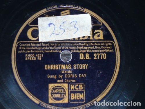 DISCO 78 RPM - COLUMBIA - DORIS DAY - CHRISTMAS STORY - SILVER BELLS - PIZARRA (Música - CD's Jazz, Blues, Soul y Gospel)