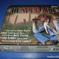 CDs de Música: DESPERADO ESTUCHE CON 3 CD CON GRANDES AUTORES KENNY ROGERS,DOLLY PARTON,JOHNNY CASH,ETC. Lote 147256334