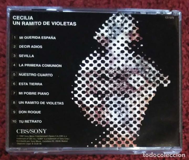 CDs de Música: CECILIA (UN RAMITO DE VIOLETAS) CD 1992 - 1ª Edición sin codigo de barras - Foto 2 - 147725850
