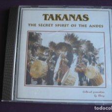 CDs de Música: TAKANAS CD PIHUAYCHO'S 1999 - SECRET SPIRIT OF THE ANDES - FOLK CHILE PERU BOLIVIA - PAN PIPE - . Lote 148000198