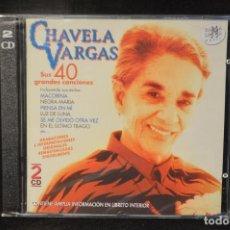 CDs de Música: CHAVELA VARGAS - SUS 40 GRANDES CANCIONES - 2 CD RAMA LAMA. Lote 149371878