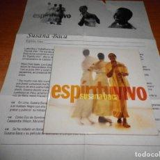 CDs de Música: SUSANA BACA ESPIRITU VIVO CD ALBUM PROMO CON HOJA PROMO DEL AÑO 2002 CARTON CONTIENE 11 TEMAS. Lote 151886746