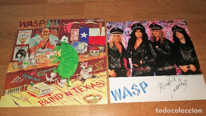 WASP LP MAXY SPANISH PRESS BLIND IN..+ PROMO PICTURE SIGNED/FIRMADO-IRON MAIDEN-MOTLEY CRUE-STRYPER (Música - CD's Heavy Metal)